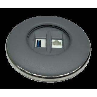IRIS80 - 1Cat6 / 1USB 3.0 (1D1USB) grau matt