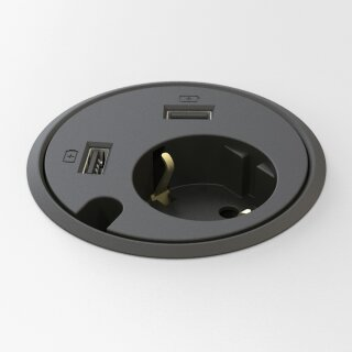 Connector-2 Schuko + 2 USB-Charger MULTILEVEL schwarz