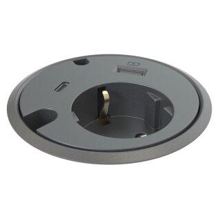 Connector-2 Schuko + 1 USB-Charger, 1 USB-C- Buchse schwarz