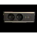 Deskup Steckdosenleiste 2 Schuko, 1 USB Doppelcharger (A...