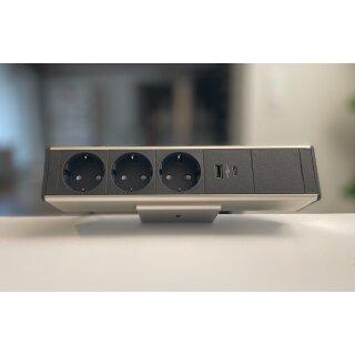 Deskup Steckdosenleiste 3 Schuko, 1 USB Doppelcharger (A + C ports), 1 E