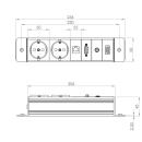 Steckdoseneinbau für Flapbox, 2 Schuko, 1 RJ45/Lan Cat6, 1x VGA, 1 x Audio (Cinch), 1 x HDMI