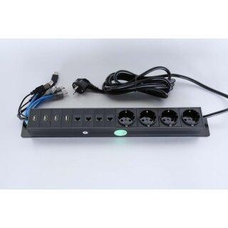 Steckdoseneinbau für Flapbox XL, 4 Schuko, 4 RJ45/LanCat6, 4x USB