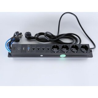 Steckdoseneinbau für Flapbox XL, 4 Schuko, 4 RJ45/LanCat6, 1x VGA, 1x Audio (Cinch), 1 x HDMI, 1 xUSB